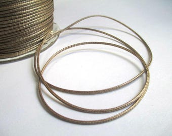 5 m thread cord glossy brown polyester 1 mm