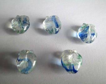 5 blue, Apple green white 15x13mm shape glass beads