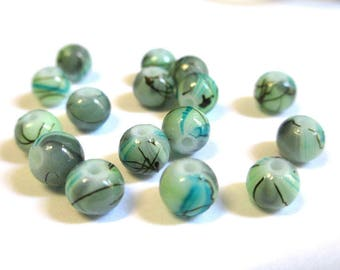 20 blue green, brown glass beads painted 6mm (5)