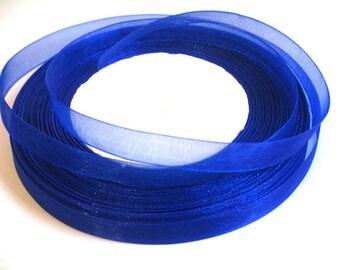 5 m organza Ribbon dark blue 10mm