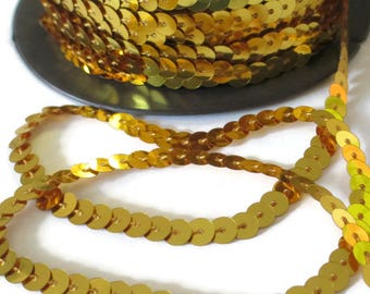3 m tape stripe sequin Gold 6mm