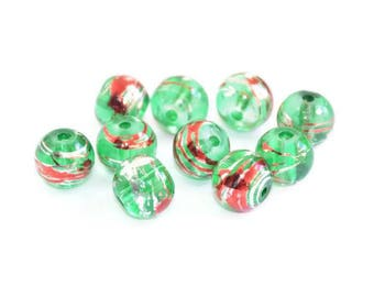 10 translucent green, silver and red glass beads 8mm