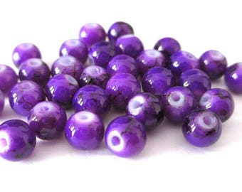 20 purple speckled beads 6mm (B-08)