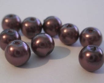 lot 30 beads 6mm round brown glass Pearl (D39) (2)
