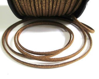 Golden appearance glittery brown suede 3 mm suede cord 3 m