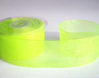 1 m 40mm neon yellow organza Ribbon