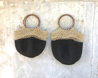 BLACK/NATURAL  RAFFIA Bag. Double colour hand knitted natural straw bag. Two sizes available.