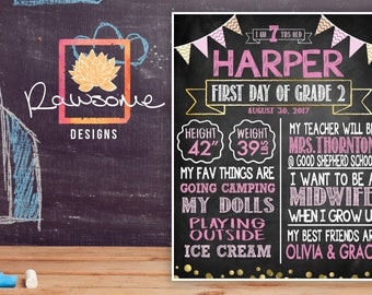 Girls Pink and Gold First Day of School - Chalkboard Sign - ANY GRADE or AGE!