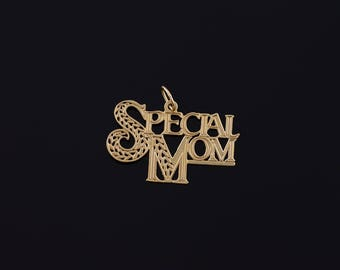 14k Special Mom Mother Word Cut Out Charm/Pendant Gold