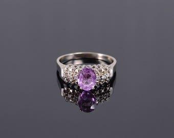 14k 1.56 Ctw Pink Tourmaline Diamond Inset Oval Ring Gold
