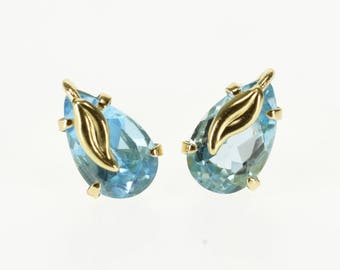 14k Pear Cut Blue Cubic Zirconia Leaf Overlay Stud Earrings Gold