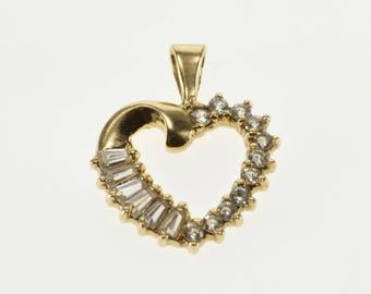 10k Baguette Round Cubic Zirconia Heart Pendant Gold