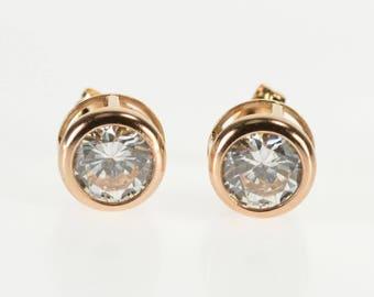 14K Round Cubic Zirconia Solitaire Bezel Stud Earrings Rose Gold