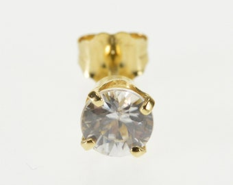 14k Round Cubic Zirconia Single Solitaire Stud Earring Gold