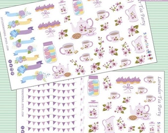 SALE | 75% OFF | Lavender Chic Tea Time Cute Planner Stickers