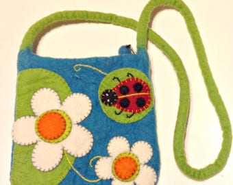 Purse, Vintage Turquoise Felted Shoulder Bag,Flowers and Ladybugs,Unique Holiday Gift