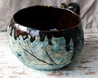 brown tea cup ceramic tea cup decorated ceramic cup for tea brown cup hand built pottery cup handmade clay mug