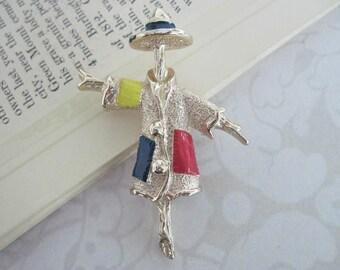 Scarecrow Brooch, Scarecrow Pin, Vintage Brooch, Sarah Coventry Brooch, Sarah Coventry Jewelry