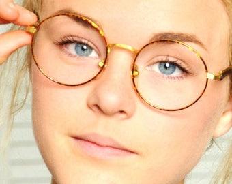 Antique GAZELLE made in ITALY Eye Glasses Round John Lennon Gold Frame Mottled Brown Thin Rim for Hipster Blogger 70s 80s 90s