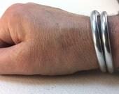 slender aluminum oval bangle bracelets stacking metal bracelets lightweight metal bracelets 4239