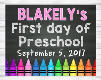 My First Day of School Chalkboard Sign, Preschool Chalkboard Sign, First Day of School Chalkboard Sign, First Day of Preschool Sign