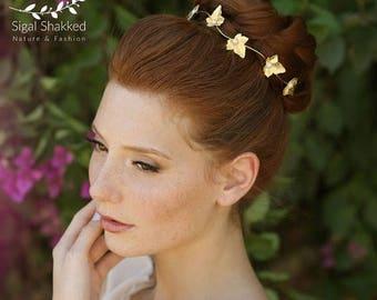 Gold Leaves Wreath Bridal Hair Accessories Forehead Band Golden Halo Bridesmaid Wreath Bridal Tiara Bridal Headband Bohemian Headband