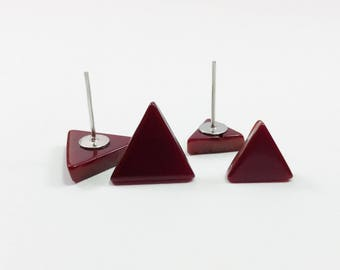 Modern Geometric Earrings - Triangle Post Earrings - Small Earrings For Women - Red Stud Earrings - Red Triangle Stud Earrings - Minimalist
