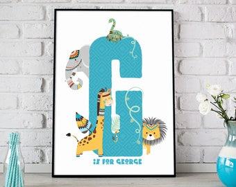 Safari Nursery Decor, Safari Nursery Art, Safari Nursery Print, Safari Kids Room Print, Nursery Wall Art, Safari Personalised Name Print