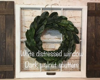 Old Window Frame, Shutters,  magnolia wreath, Farmhouse decor, Fixer upper decor