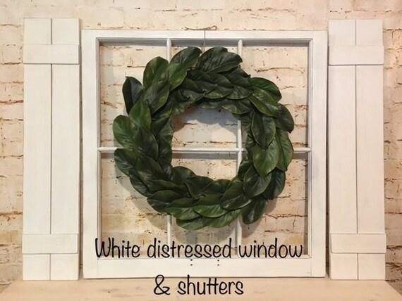 distressed window decor old window frame shutters magnolia wreath farmhouse decor