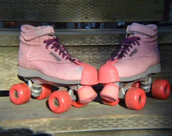 Rollerskates Riedell Aerobiskate,Rollerderby,Pink Quads,Old School Skates,70s GlamDisco,Quad Velcro,Skates,Pink Wheels,Pink Stoppers,Awesome