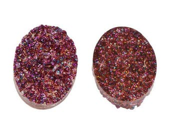 6 purple 13x18mm oval resin druzy cabochons