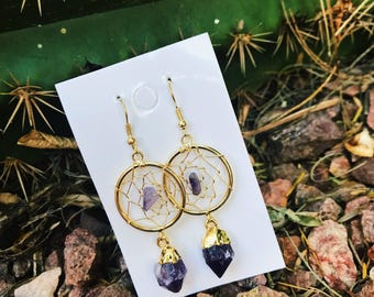 Amethyst Dream Catcher Drop Earrings, Gold