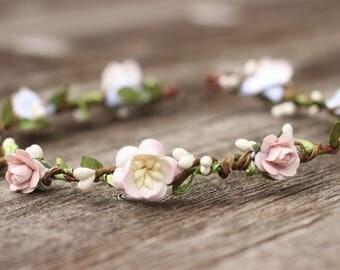 Spring Flower Crown Ivory - Flower Crown Girls - Wedding Hair Crown Lilac - Hair Crown -  Ivory Bridal Headpiece - Girls Floral Crown Halo
