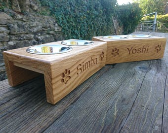 Small Handmade Solid Oak Personalised raised cat / dog Feeder - double 11cm bowls