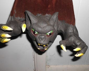"16"" Hanging Vampire Bat Sturdy Rubber and Velveteen Body Halloween Decor"