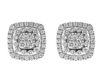 Square Diamond Cluster Studs - Convertible Dangling Earrings - Halo Style - 18k White Gold Jewelry [#12239]