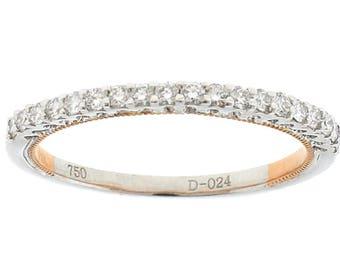 Two Tone Diamond Wedding Band - 18k White & Rose Gold Ring [#12246]