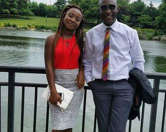 Red AfroNeckties Silk Adinkra Kente Hand Woven NeckTie, Grooms Men African Clothing, Gye Nyame Wedding African Graduation Tie, Gift For Him