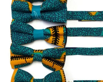 Aqua Blue Geometric African Print Pre-tied Wedding Groomsmen, Bridesmaids Bowties, Sibling, Friends, Shop Staff Bowties And Pocket Squares,