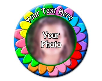 "3"" Custom Colorful Flower Photo Button"
