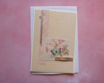 Delicate Butterfly Birthday Card with Rhinestones FREE SHIPPING