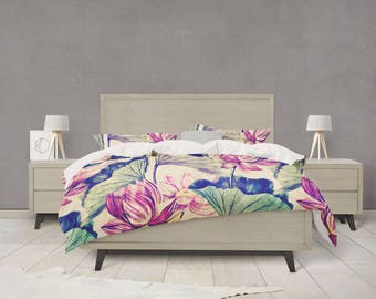 Watercolor water lily duvet cover