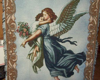 Memorial Wall hanging /Throw/Tapestry Lap blanket Angel Holding Child & Flowers/ Bouquet Bordered Fringed Christian Love