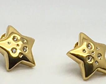 Vintage  Vendome Star Clip On Earrings Clear Rhinestones Celestial Designer Signed Mid CenturyModern Costume Jewellery
