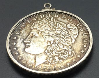 1896 Silver Morgan Dollar Pendant Sterling Silver  Bezel  Coin Collector Gift Anniversary  Birthday Gift Stocking Stuffer