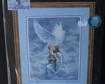 Dimensions  Counted Cross Stitch Kit 35000 Dove Of Peace Jesus With Child  Religious Craft Kit