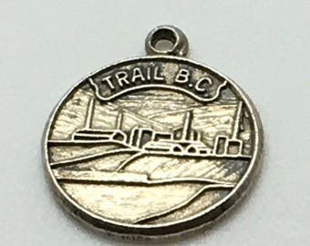 Trail Bc Sterling Silver Charm West Kootenay Interior Dewdney Trail Disk Charm  Canadian Souvenir Travel Memorabilia Charm For Bracelet