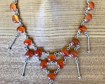 "Sterling Silver Carnelian Multi-Stone set Necklace 15.4"", Earrings, and Bracelet"