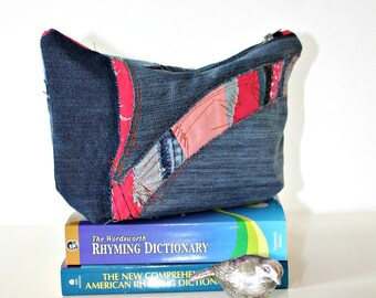 Handmade Denim Bag Pouch case Make up bag Thank you gift Wash bag Pencil case Zipper pouch Small Handbag Purse Toiletry bag Gift for Bride